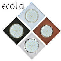 Ecola GX53 H4 5311 Glass Downlight Square Spotlight Cut Hole Spot Lamp Fitting Frame Bulb Replaceable gx53 Sockets 38x133