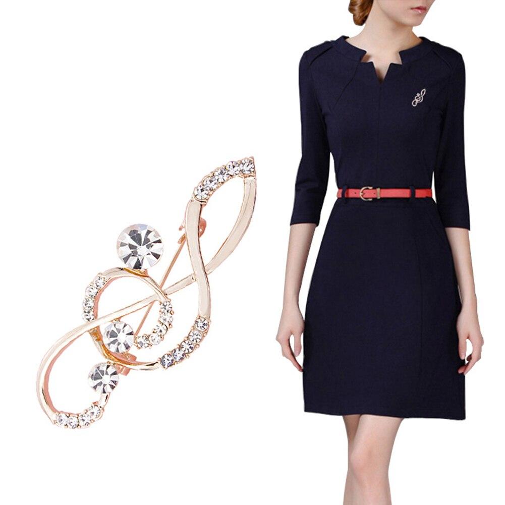 Для женщин со стразами нот Шарф Брошь розовое золото скрипичный ключ Булавки ювелирные изделия