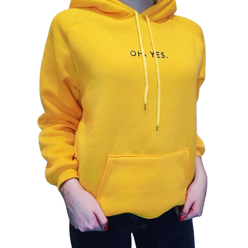Womens OH YES Letter Print Pocket Hoodie Pullover Sweatshirt Blouse
