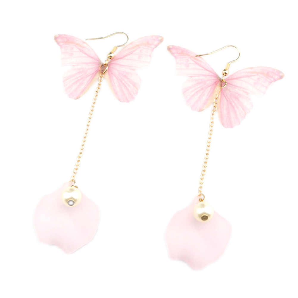 Top Quality Elegant And Charming pink  Butterfly Shell   Simulated Pearl Statement Dangle Earrings for Women Wedding Party