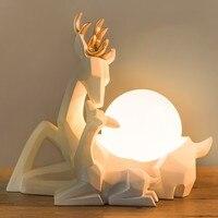 Северной Европы Современный Творческий Милу олень смолы настольная лампа офис исследование Спальня украшения гостиной лампы Бесплатная д