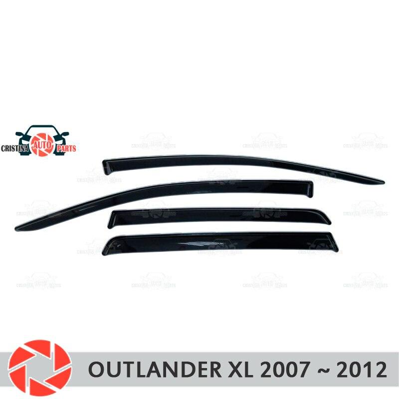 Deflector de ventana para Mitsubishi Outlander XL 2007-2012 deflector de lluvia protección de la suciedad de coche estilo Decoración Accesorios de moldeo