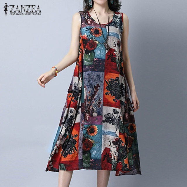 2679a076b88d ZANZEA Women 2018 Summer Sexy A Line Dress Casual Loose Sleeveless O Neck  Mid-calf