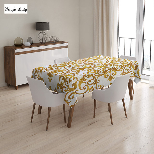 Living Room Table Cloth Victorian Golden Antique Baroque Pattern Ottoman  Royal Pattern Golden White 145x120 Cm