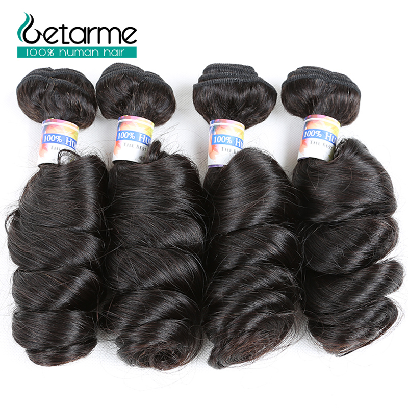 Loose Wave Human Hair 4 Bundles Malaysian Weave Hair 100% Human Hair Weaving Natural Black Non Remy Getarme Hair Bundle Deals