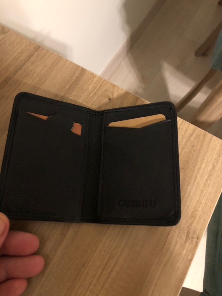 GUBINTU Brand Man Genuine Cow Leather Male Credit Card Holders Money Dollar Clip Wallet Purse ID Pocket for Men photo review