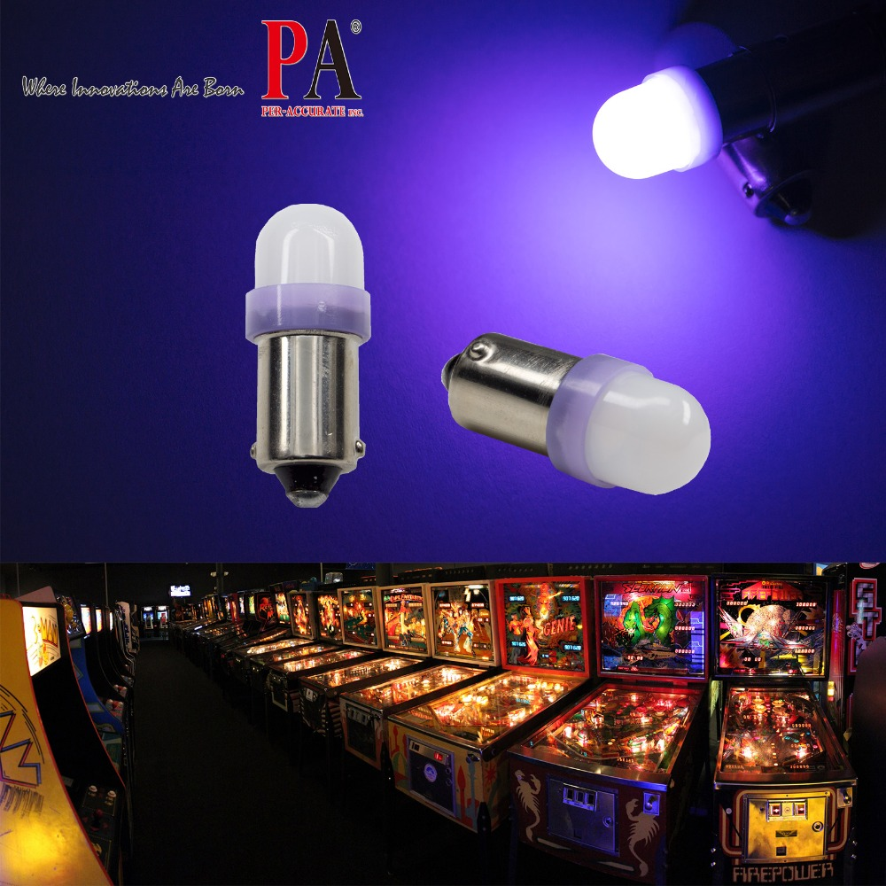 PA LED 50 pièces x #1893 #44 #47 #1847 BA9S 2SMD 2835 LED flipper Machine tableau de bord ampoule 8 couleur 6.3 V givré