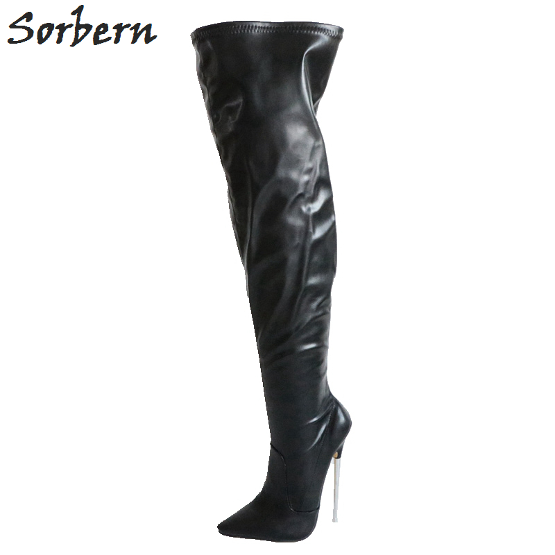 Sorbern 18Cm Metal Heels Over The Knee Boots For Women Fashion Shoes Women Med Thigh High Boots Pointy Toe Boots High Heels цена