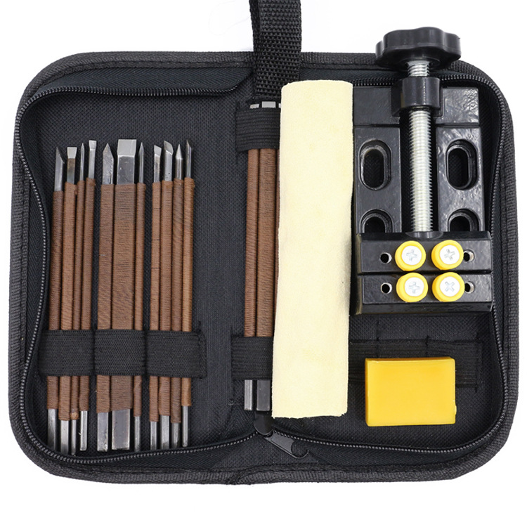 Stone Carving Tool Kits 18pcs Manganese Steel Hand Engraving Knife Carving Chisels Vise Clamp Kits цена
