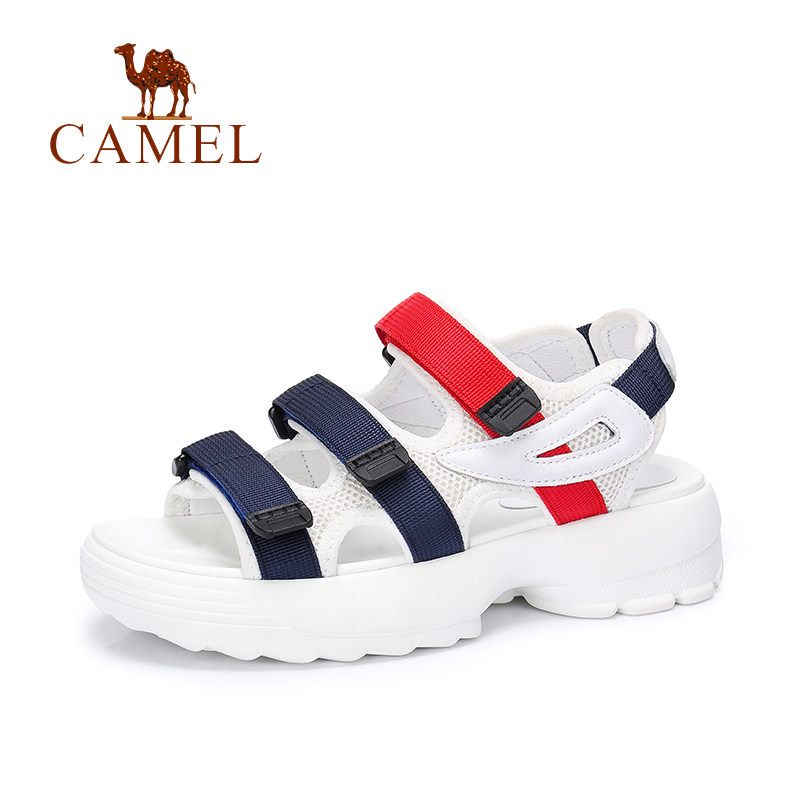 CAMEL Women s Casual Flat Sandals 2018 Summer New Wild Elegant Exposed Toe Med Heel Antiskid
