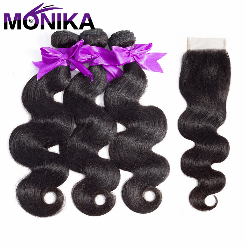 Monika Hair Brazilian Body Wave With Closure 3 Bundles Body Wave Human Hair Weave With Lace Closure Non-Remy Hair