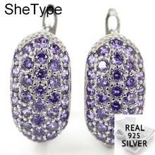 SheType 5.2g New Designed Amethyst Citrine Gift For Sister 925 Solid Sterling Silver Stud Earrings 17x9mm