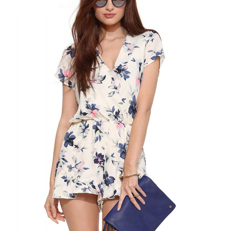 2020 Hot Sale Boho White Floral Print Elegant Jumpsuit Romper Summer Style Sexy V Neck Women Playsuit Beach Chiffon Overalls