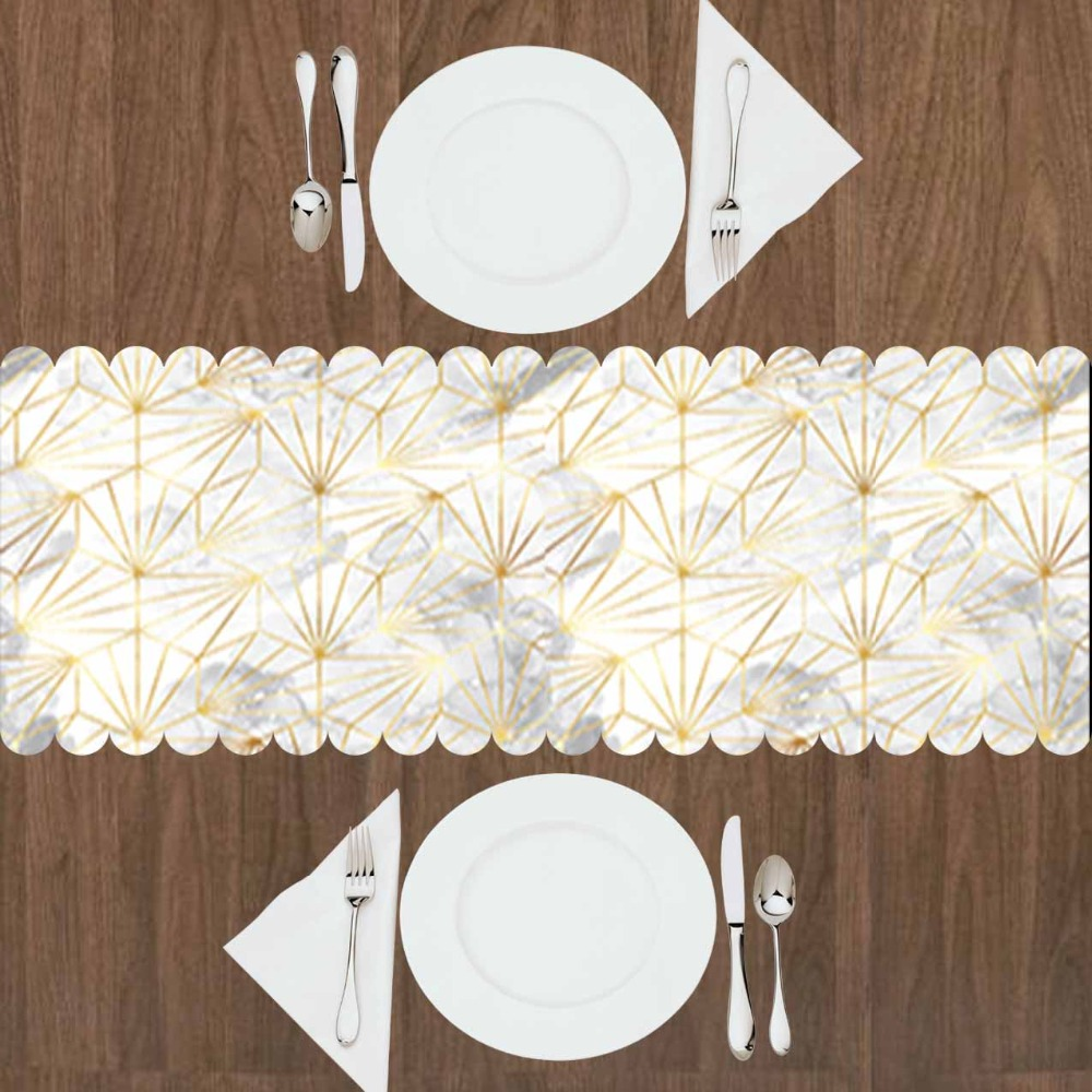 Else Gray White Clouds Golden Yellow Stripes Lines 3d Print Pattern Modern Table Runner For Kitchen Dining Room Tablecloth