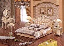 ФОТО Europe and America  leather bed frame Modern Soft Beds Home Bedroom Furniture cama muebles de dormitorio / camas quarto