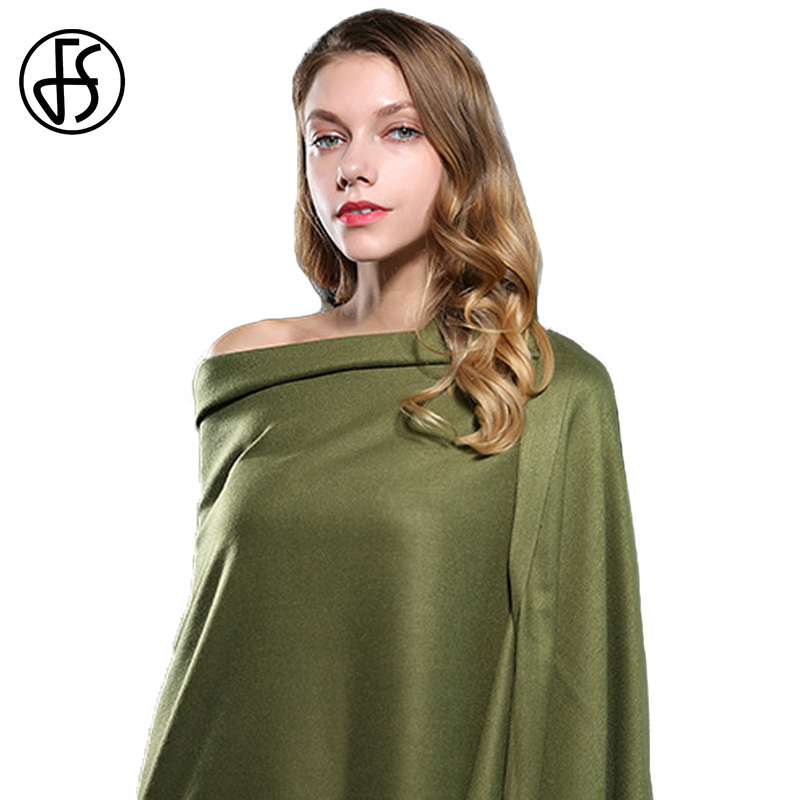 FS Wool Cashmere   Scarf   Women Winter Luxury Brand Solid Color Tassel Warm Long Head   Scarves   2018 Shawls   Wraps   Echarpe Pashmina