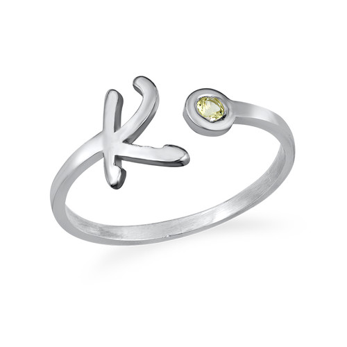 Unique pierre de naissance nom anneau personnalisé ouvert initiale pierre de naissance anneau pour cadeau d'anniversaire 925 argent vacances cadeau femmes anneau hommes simple