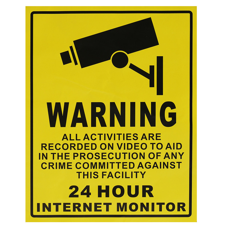 24 часа surveiliance Предупреждение обои 25 см * 20 см Большой видеонаблюдения Камера Тип Наклейки на стену знаки Домашний Декор