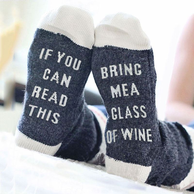 Women Men Letter Printed Socks If You Can Read This Reading Wine Winter Autumn Cotton Socks Funny Middle High Warm Socks