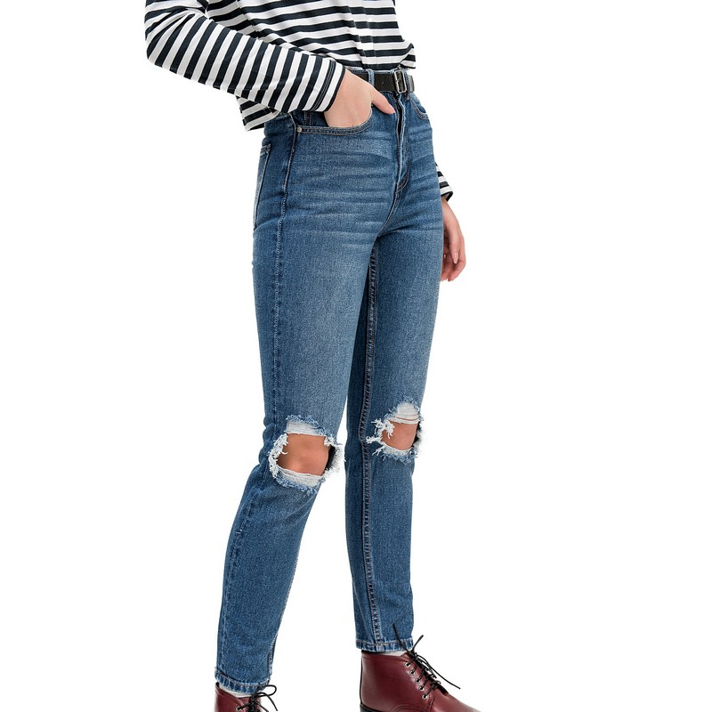 Jeans befree for female cotton pants women clothes apparel  1811403775-103 TmallFS 2017 boyfriend hole ripped low waist jeans women vintage lace floral cool denim pencil pants lady bleached washed jeans femme