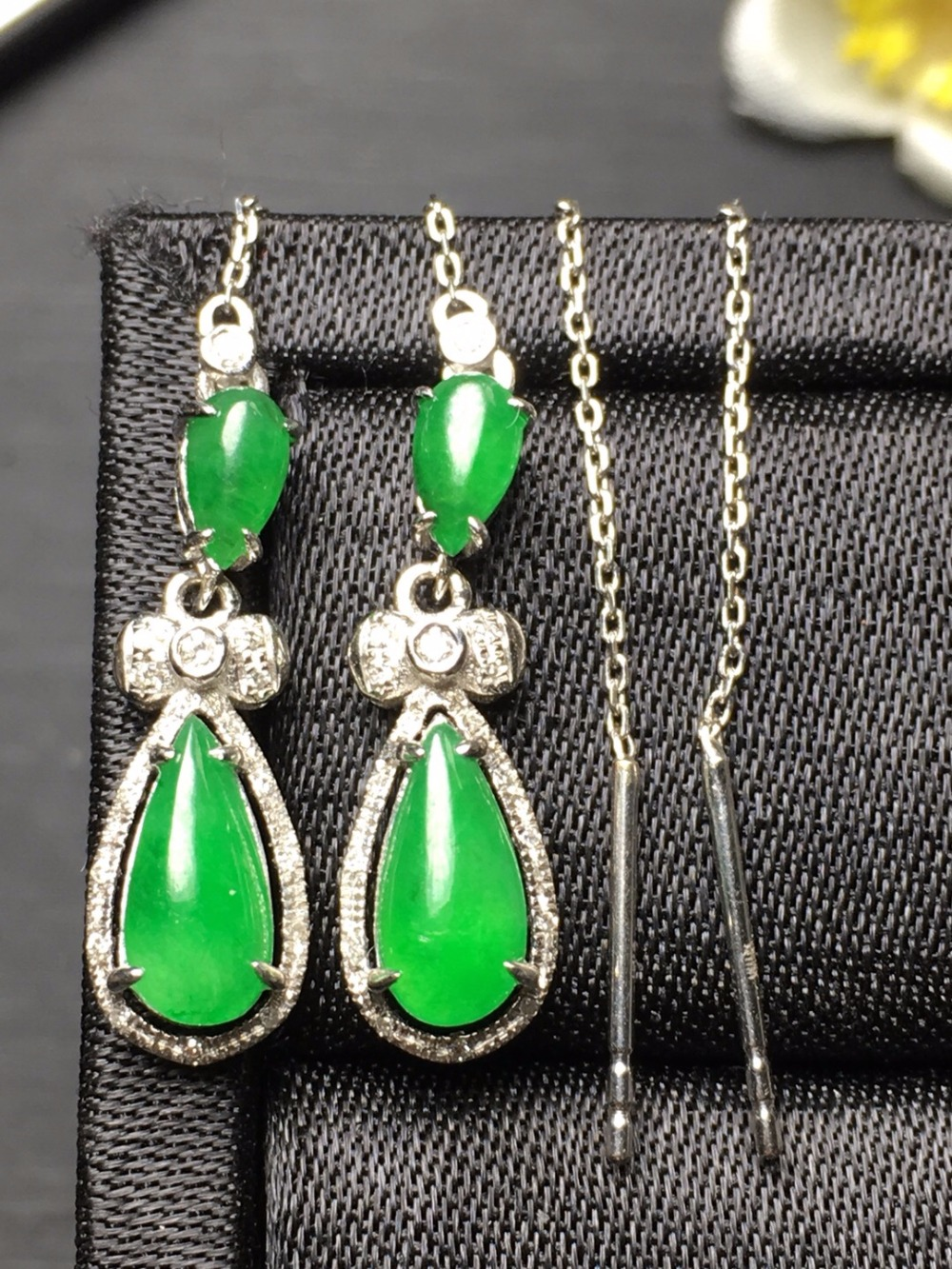 Fine Jewelry Collection Real 18K White Gold AU750 100% Natural Green Jade Gemstone Myanmer Origin Drop Earrings for Women fine jewelry collection real 18k white gold natural green jade gemstone animal shape pendant necklace fine pendants