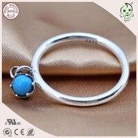 Top Qualität Klassische Silber Schmuck Berühmten Europäischen Marke 925 Reinem Silber Blauen Stein Anhänger Ring