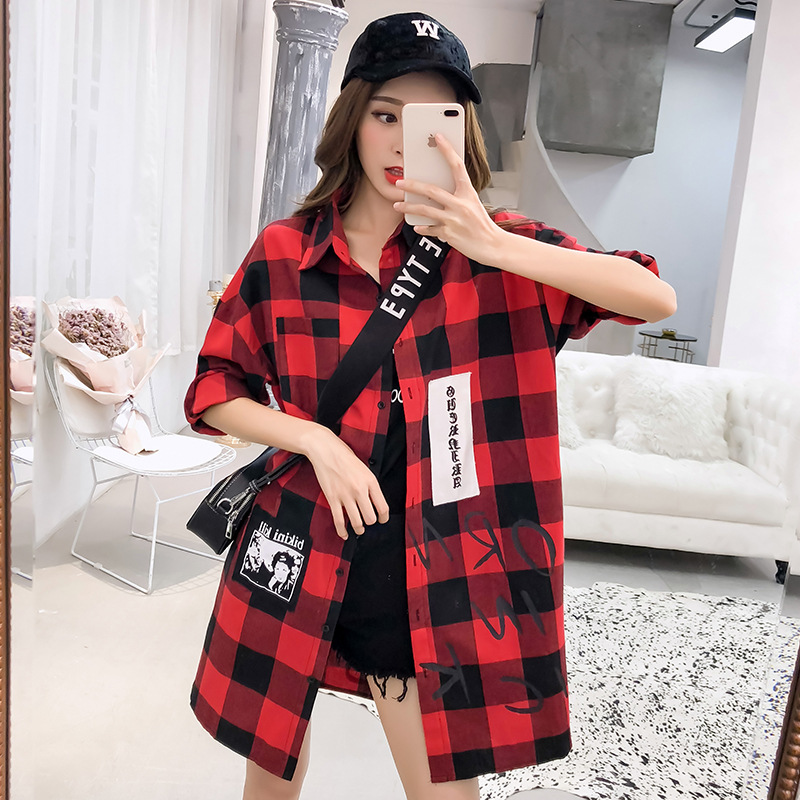 Pregnancy Shirt Coat Plaid Maternity Tunic Tops Winter Plus Size Loose Maternity Clothing lactation Clothes For Pregnant Women asymmetric plus size off shoulder tunic top