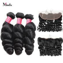 Meetu Peruvian Loose Wave Bundles With Frontal 3 Bundles With Frontal 13X4 Inch Free Part Lace Frontal With Bundles Non Remy