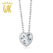 0.67 Ct en Forma de Corazón del Cielo Azul Aquamarine 10 K Oro Blanco Colgante con Cadena de 18″
