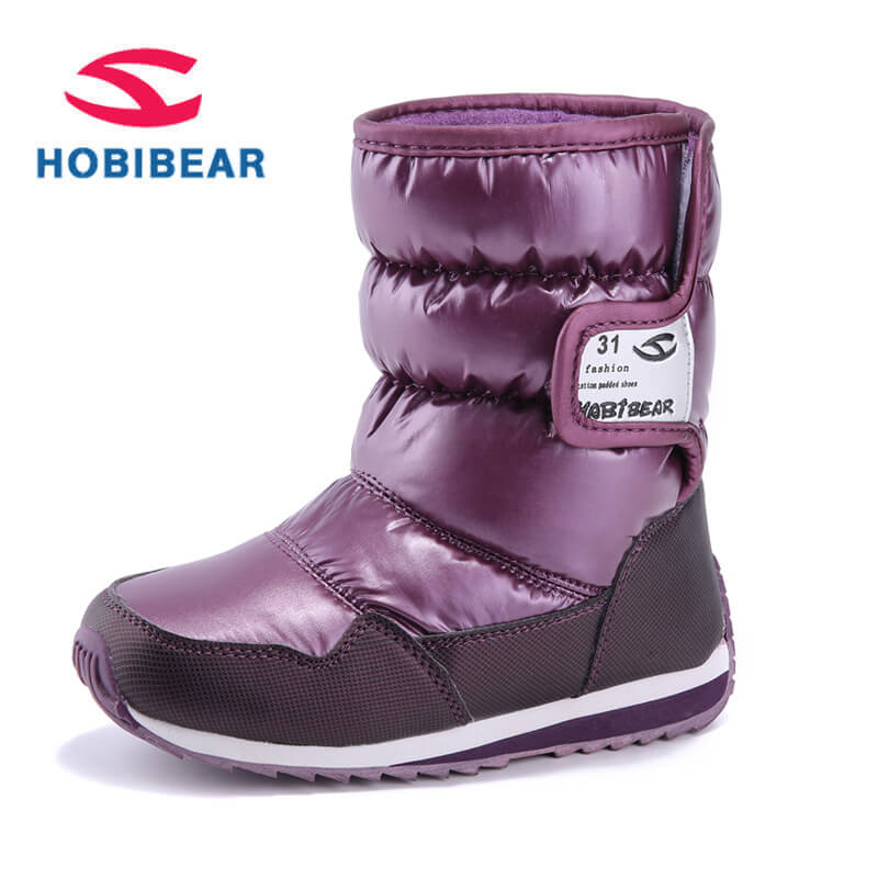 Winter Boots Kids Toddler Waterproof Mid-Calf Snow Boots for Girls Boys PU Leather Warm Plush Children's Shoes Rubber Kids Boots snow toddler fur warm boots soft mid calf kids booties waterproof baby winter pink shoes little girls boys infant boot kt902