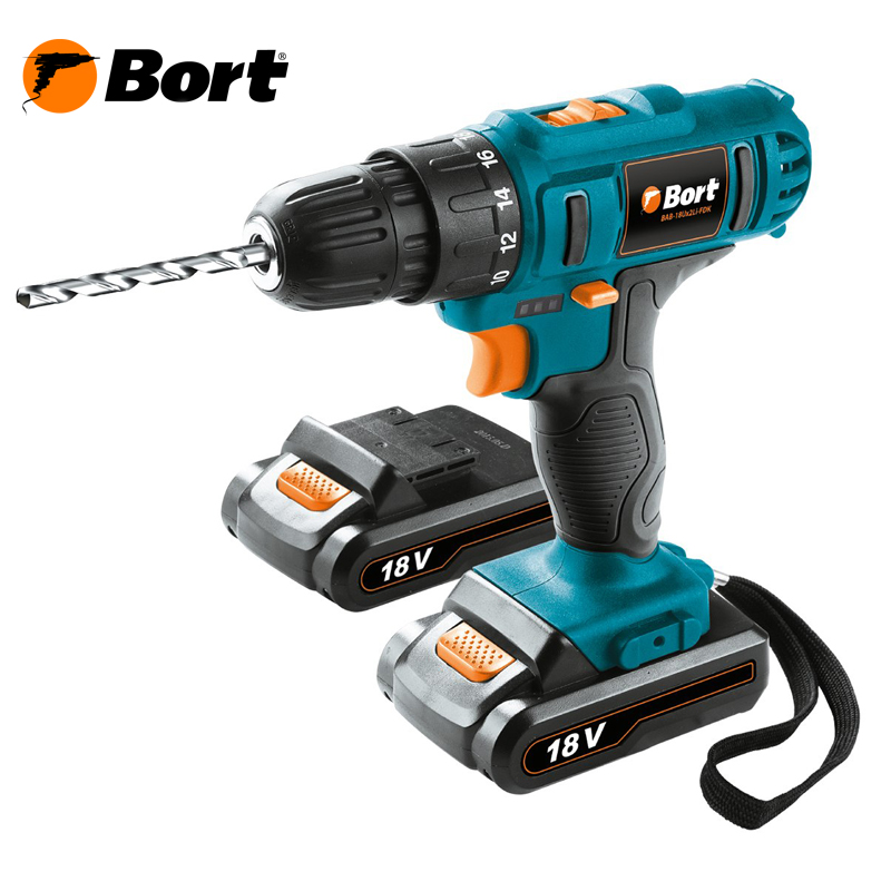 18V Bort Li-Ion Lithium Battery Electric Drill Cordless Screwdriver Mini Drill Cordless Screwdriver Power Tools Cordless Drill BAB-18Ux2Li-FDK 60v scooter electric bike motorcycle 3000w lithium ion battery pack