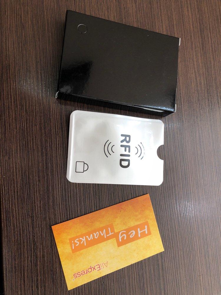RFID-blokkering 100% echt leder creditcardhouder Aluminium Metalen identiteitskaarthouder Slanke kaarthouder Mini-portemonnee voor heren photo review