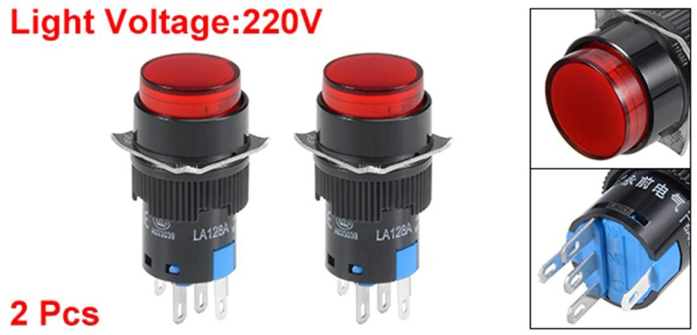 UXCELL 2Pcs 16mm Switches Latching Push Button Switch Red Round Button Light AC 220V Switch Accessories DPST 1 NO 1 NC in Switches from Lights Lighting