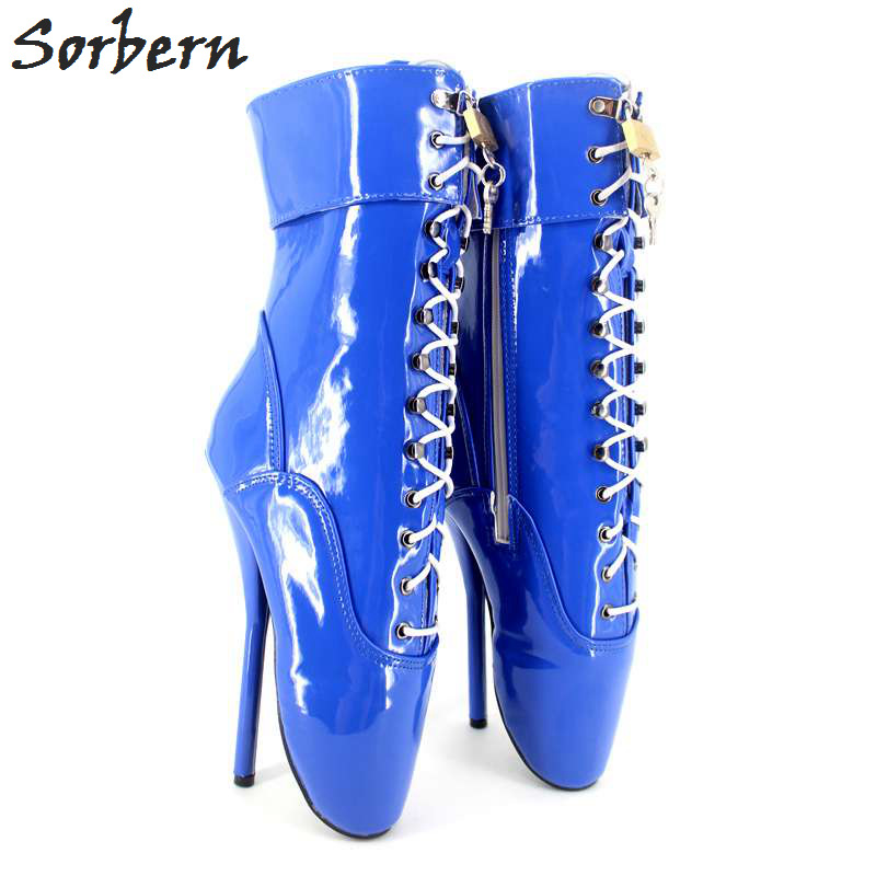 Sorbern Women Ankle Boots Ballet High Heels For Ladies Party Boot Nightclub Dance Ankle Boots For Gay Sexy Shoes sorbern royal blue metallic ankle boots for women ballet high heels padlocks exotic dance party shoes sexy fetish high heel shoe