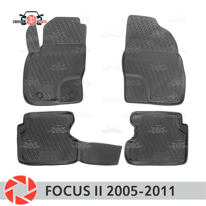 Tapis de sol pour Ford Focus 2 2005-2011 tapis antidérapants en polyuréthane protection contre la saleté accessoires de style de voiture intérieure