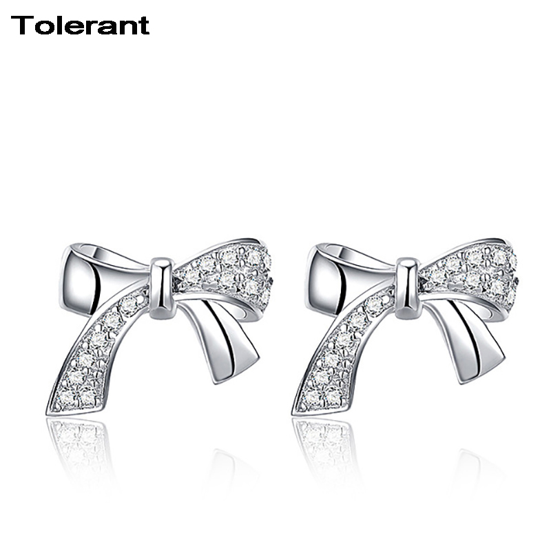 Exquisite Fashion Design Bowknot Stud Earrings Girl Korean Simple Style 925 Silver Pendientes Cute Earrings for Women RES00448 tl love heart earrings for women stainless steel silver hot earrings simple design open cross earrings