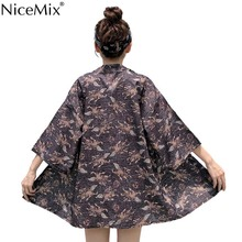 NiceMix 2019 summer Kimono Chiffon Blouse Women Beach Tops Casual Three Quarter Sleeves Shirts Print Camisa Feminina Loose new