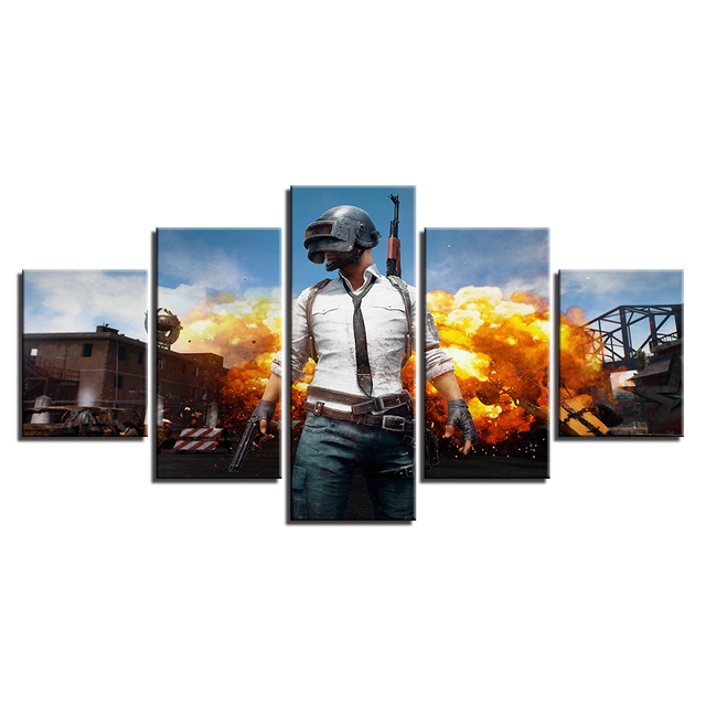 PUBG Hot Game Poster Jedi Survival Battle 5 Piece Canvas Painting Poster Print For Living Room Home Decoration No Frame Pictures 3