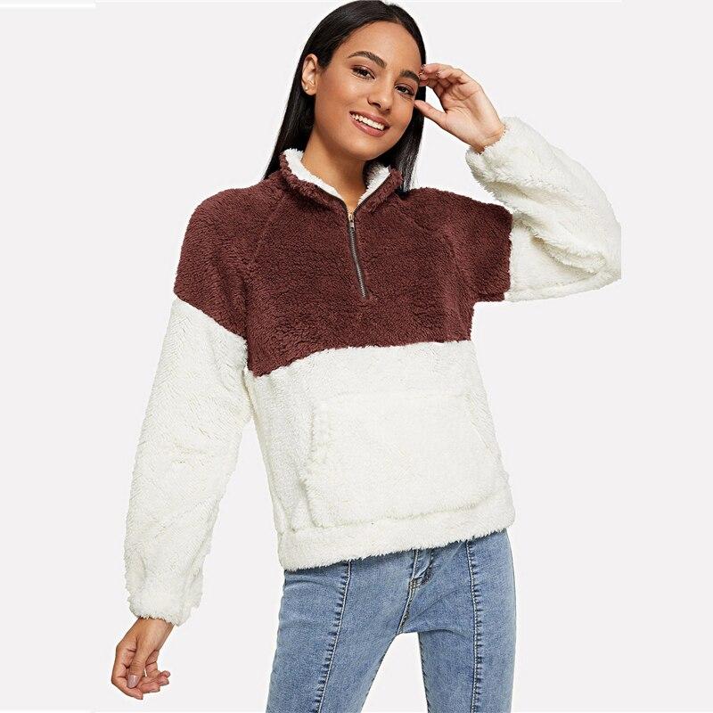 Colorblock Drop Shoulder Stand Collar Sweatshirt For Women