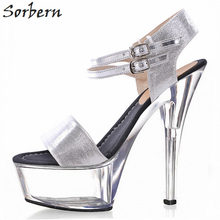 Sorbern 15 cm 17 cm Clear tacones sandalias mujeres tobillo correas de  encargo blanco mujer 69221085ca2a