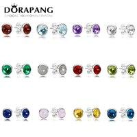 DORAPANG 100 925 Sterling Silver Twelve Constellations Blue Crystal Luxury Earrings Fit Bracelet DIY Bead Wholesale