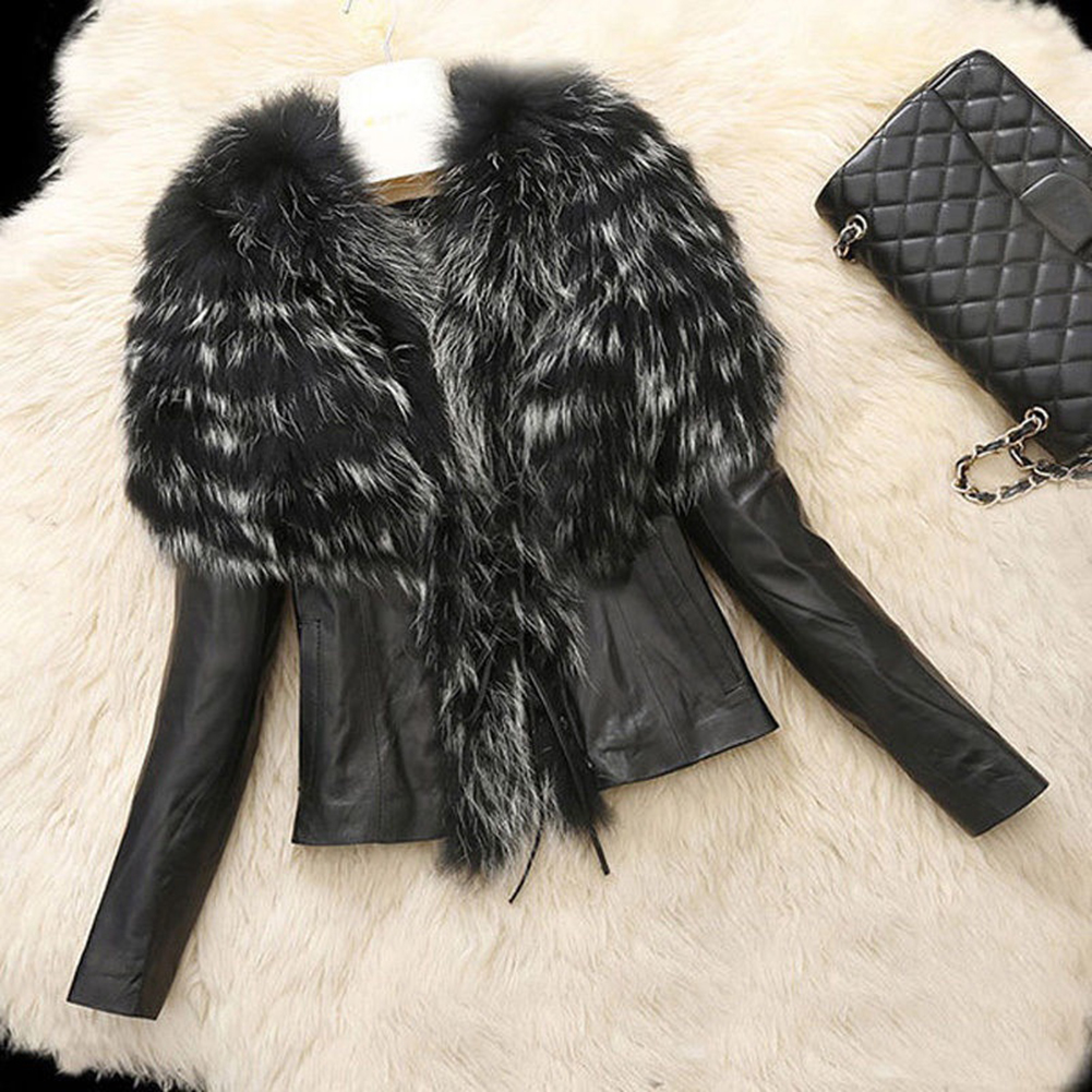Winter Warm Womens Fur Collar Coat Faux Leather Jacket Overcoat Outwear