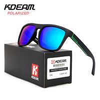 Certificación CE KDEAM gafas de sol polarizadas deporte de los hombres gafas de sol de conducción de las mujeres lente espejo marco cuadrado UV400 con el caso KD156