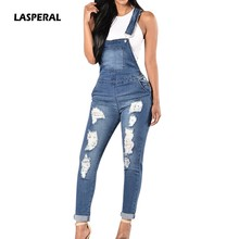 82640b11b7e5 LASPERAL 2018 Spring Women Denim Overalls Jumpsuits Ripped Holes Casual  Pockets Sleeveless Jumpsuits Hollow Out Slim Rompers 2XL