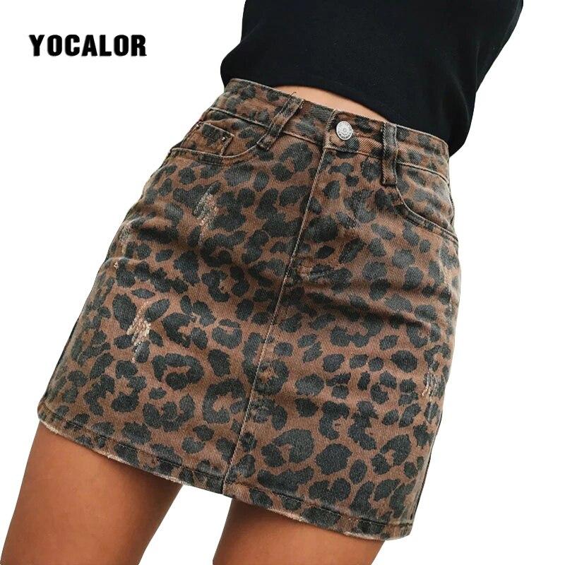 167cafcc31 Sexy Leopard Printed Denim Skirt Women Summer Skirt Bodycon Pencil Casual  Design Slim A Line Mini Skirt High Waist Streetwear -in Skirts from Women's  ...