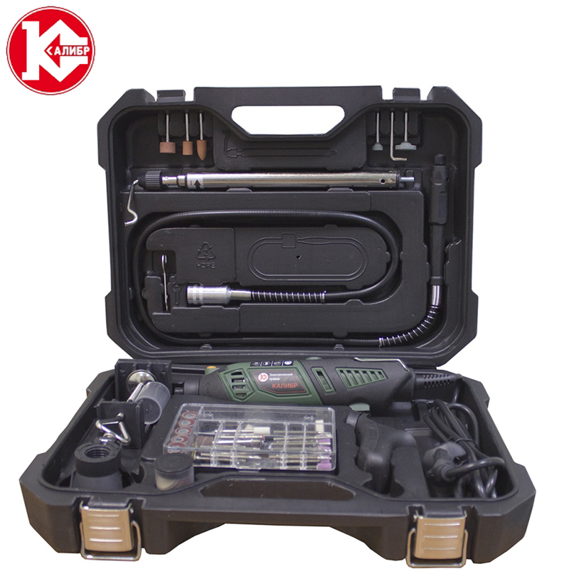Kalibr EG-170+VG Mini Electric Drill Variable Speed Grinding Machine Grinder Set with Engraving Accessories new brand 1pc dc 5v diy mini micro small electric aluminum hand drill for motor pcb high quality