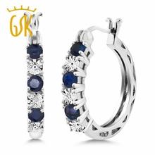 Gemstoneking Естественный Голубой Сапфир & White Diamond Accent стерлингового серебра 925 круг вечности Серьги для Для женщин