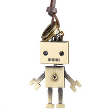 High Quality Fashion Long Necklace Leather Sweater Chain Robot For Women Men Pendant Necklace Jewelry(China)