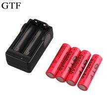 Battery plus Carregador de Bateria Gtf 4 Pcs 18650 3.7 V 9900 Mah Recarregável Li-ion Plug UE
