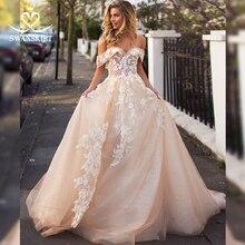 Swanskirt Sweetheart 3D Bloemen Trouwjurk 2020 Off Shoulder Applicaties A lijn Prinses Bruid Prinses Robe De Mariee I166